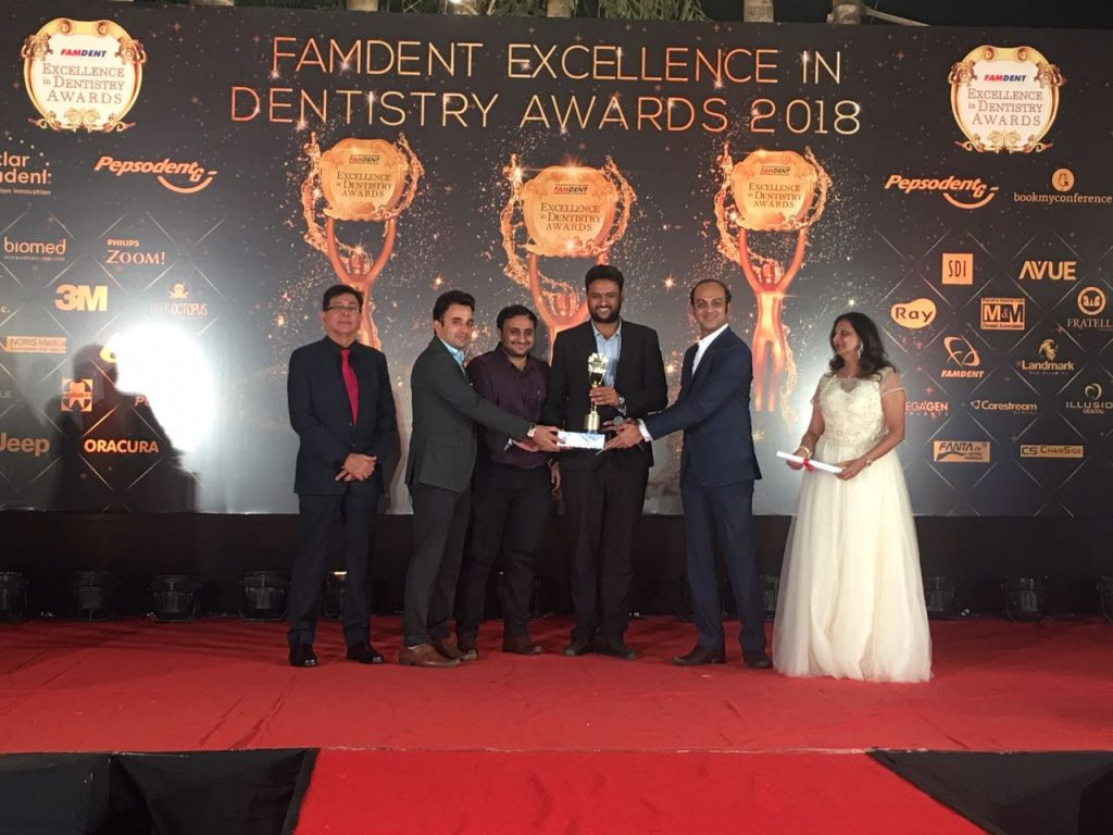 Femdent Excellence in Dentistry Award 2018 KNK clinic Chennai won the best clinic in multiple chair category